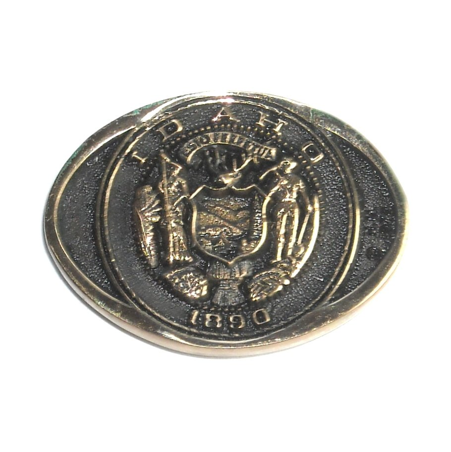 Idaho State Seal Heritage Mint Solid Brass Small Belt Buckle