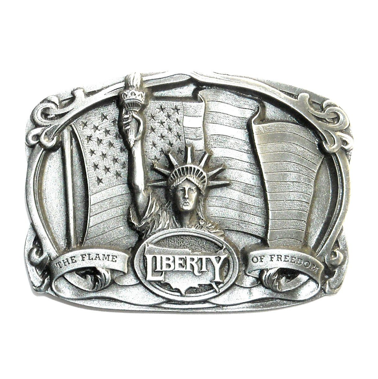 Liberty Flame Of Freedom Original Bergamot 3D Pewter US Belt Buckle