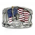 US Liberty Flame Of Freedom Vintage Bergamot Color Pewter Belt Buckle