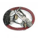 Arabian Horse Bergamot Color Pewter US Belt Buckle
