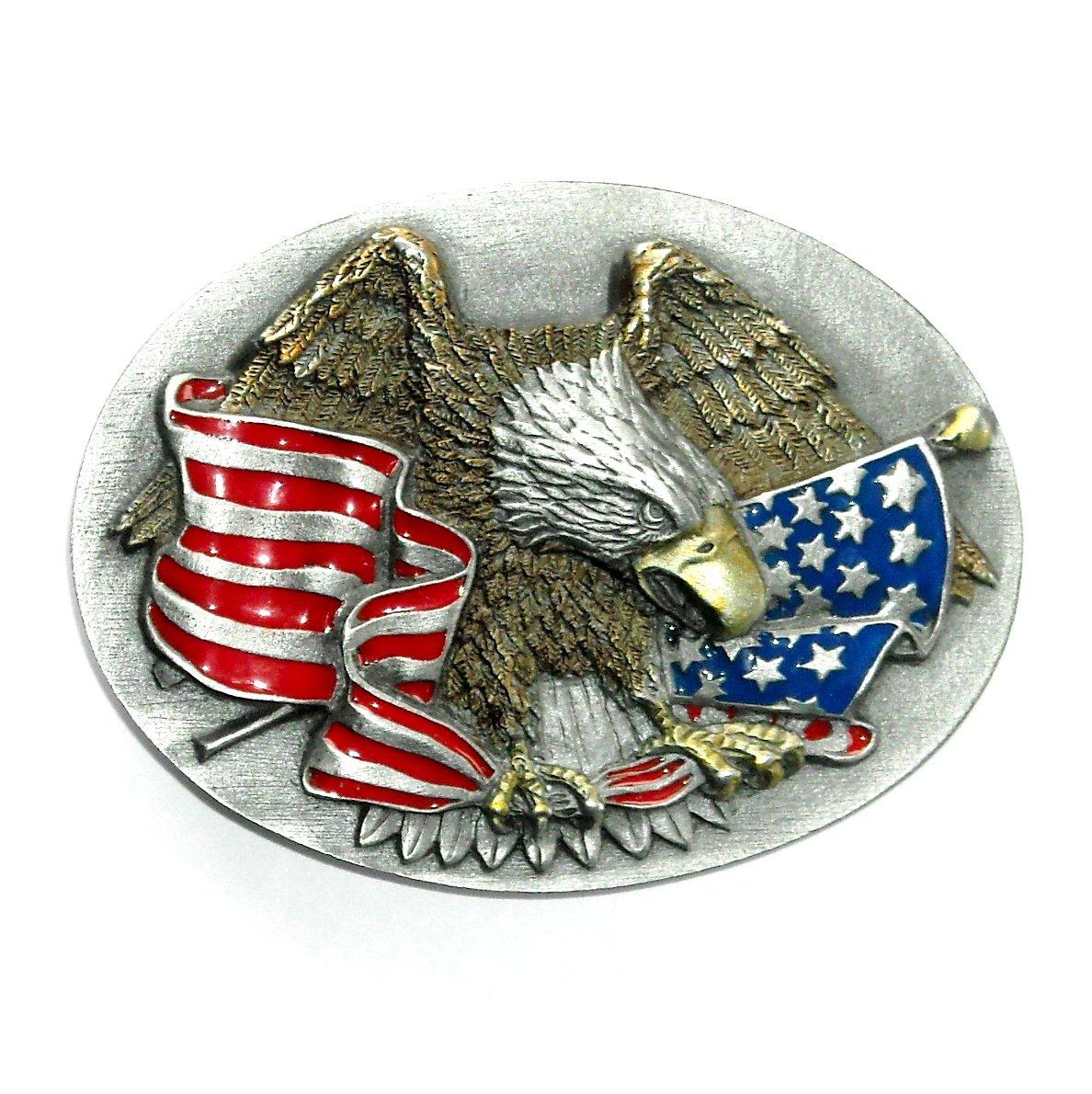 American Eagle Stars & Stripes Color Bergamot Pewter US Belt Buckle