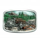 Vintage Chainsaw Logging Bergamot Color US Belt Buckle