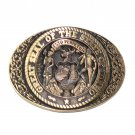State Of Idaho Great Seal Vintage Award Design Brass Belt Buckle