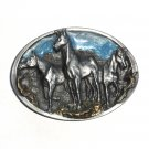 Mustang Horses Bergamot Pewter C&J US Belt Buckle