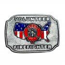 VFD Shield Volunteer Firefighter Bergamot Pewter Color Belt Buckle