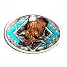 Southwestern Bald Eagle 3D Vintage Bergamot Pewter US Belt Buckle