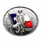 American Cowboy Texas Flag Bergamot Pewter US Belt Buckle