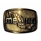 Mexico Large BTS Solid Brass Vintage Belt Buckle