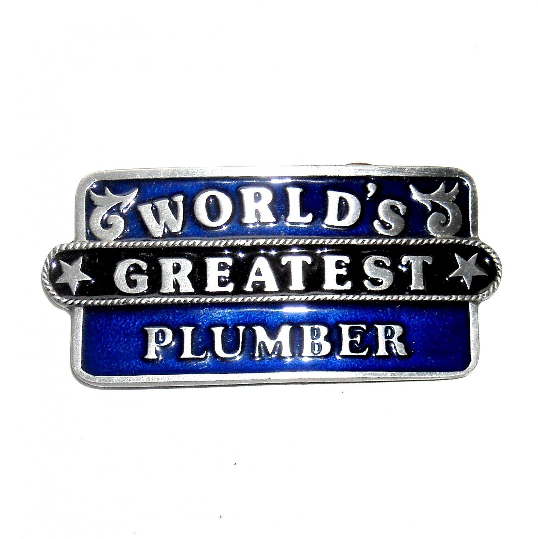 World's Greatest Plumber Bergamot Pewter US Belt Buckle