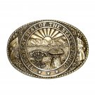 Great Seal State Of Ohio Tony Lama Solid Brass Belt Buckle