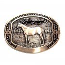 Tony Lama Thoroughbred Horse First Edition Solid Brass Belt Buckle