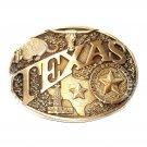 Texas State Seal Vintage Award Design Medals Solid Brass Belt Buckle