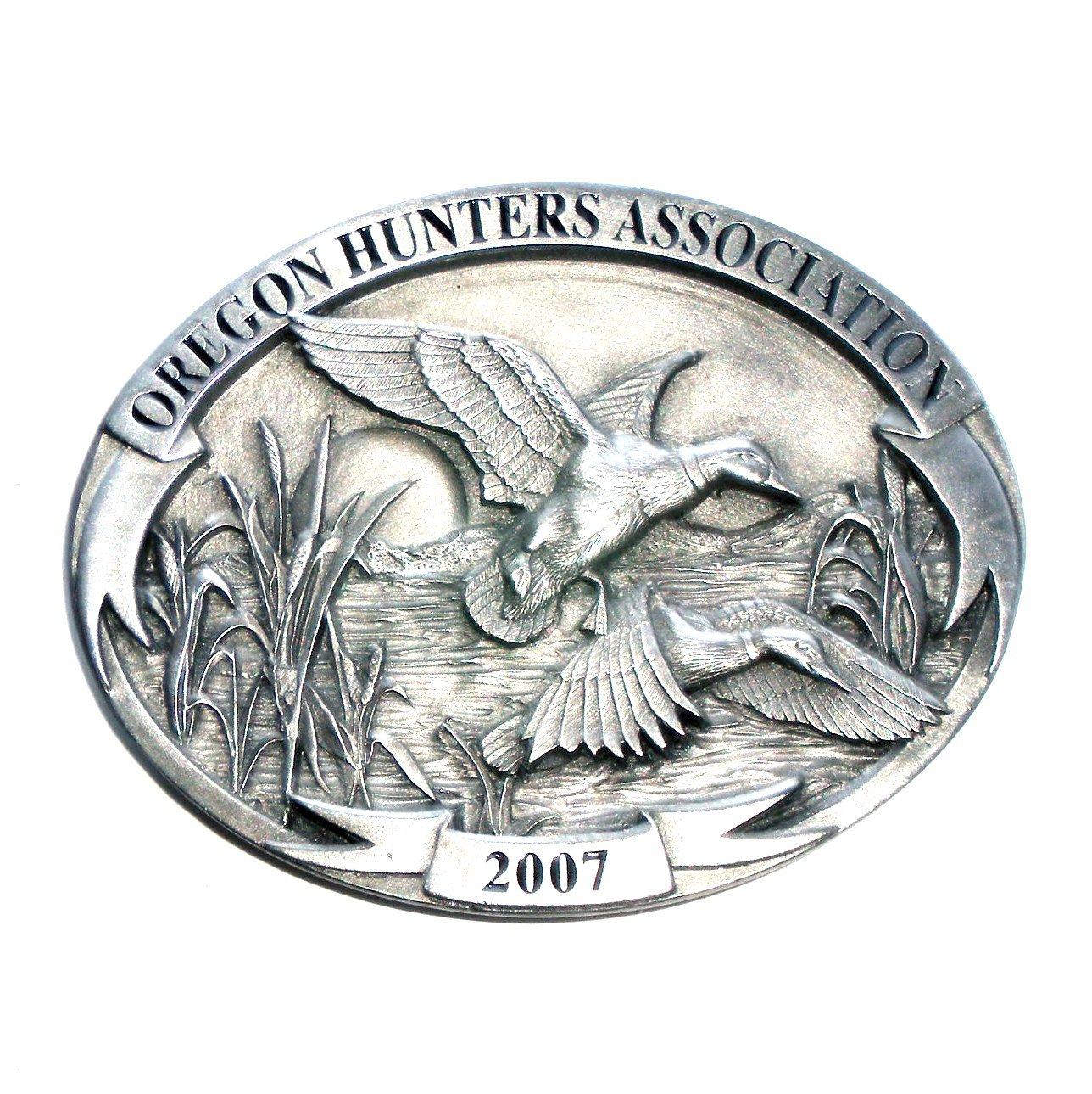 Ducks 2007 Oregon Hunters Association 3D Solid Pewter US Belt Buckle