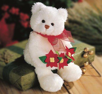 GUND STUNNING BEAR RETIRED WHITE CHRISTMAS BEAR WITH POINSETTAS NEW GUND PLUSH STUFFED ANIMAL