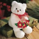 GUND STUNNING BEAR RETIRED WHITE CHRISTMAS BEAR WITH POINSETTAS NEW GUND PLUSH STUFFED ANIMAL