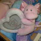 BABY PHOTO FRAME PLUSH PINK SWIRL HEART AND ELEPHANT BABY GANZ NEW