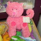 BABY SOUND AND TEXTURE TOY BUTTON BUDDIES PINK CHENILLE KITTY CAT BABY GANZ NEW