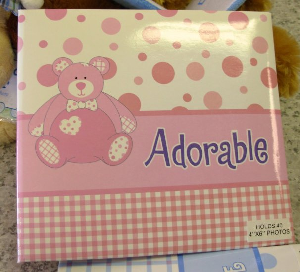 BABY PHOTO ALBUM BRAG BOOK ADORABLE NEW BABY GANZ HOLDS 40 4X6 PHOTOS PINK TEDDY BEAR POLKA DOTS