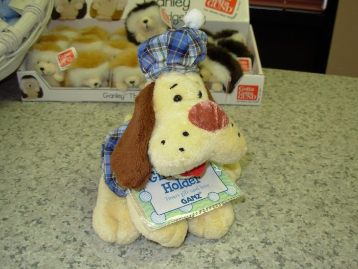 GIFT CARD HOLDER PUPPY DOG STUFFED PLUSH ANIMAL IN BLUE PLAID HAT AND MATCHING SHIRT NEW GANZ