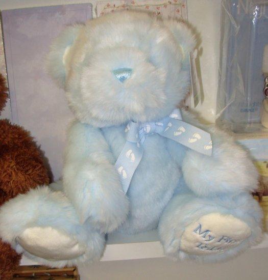 BABYS MY FIRST TEDDY BLUE PLUSH STUFFED ANIMAL BEAR NEW WITH TAGS GANZ