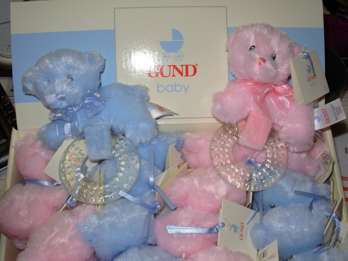 GUND MY FIRST TEDDY BLUE BEAR TEETHER BABY GUND NEW WITH TAGS TEETHING RING