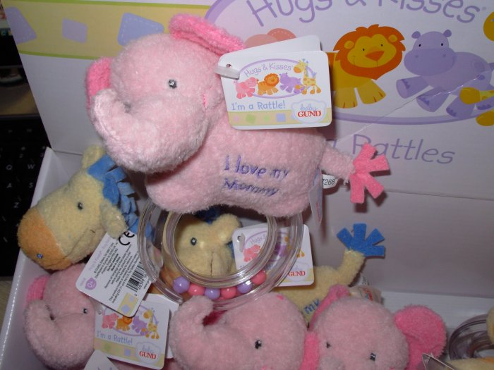 BABY RATTLE HUGS AND KISSES ELEPHANT I LOVE MY MOMMY GUND BABY NEW WITH ORIGINAL TAGS