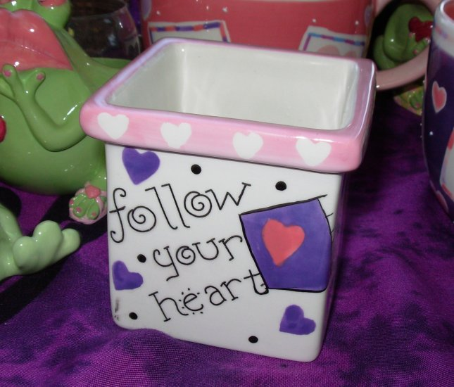 VOTIVE CANDLE HOLDER SAYS FOLLOW YOUR HEART CERAMIC HOME DECOR NEW GANZ
