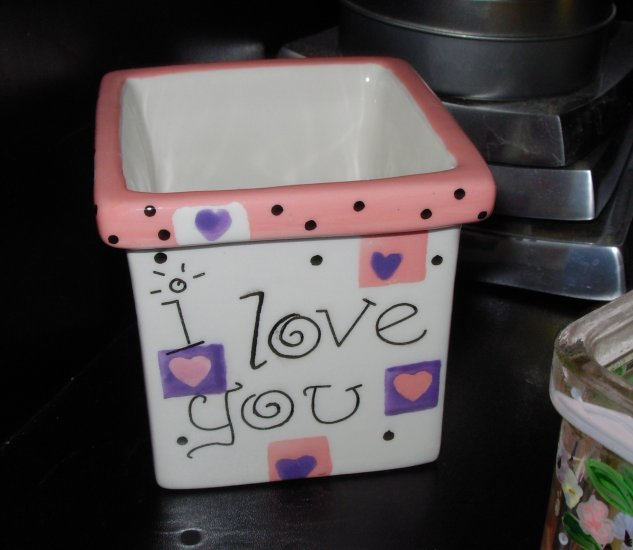 VOTIVE HOLDER SAYS I LOVE YOU WITH HEARTS CERAMIC HOME DECOR NEW GANZ