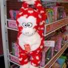 GUND GIBBON MONKEY RED AND WHITE PLUSH STUFFED ANIMAL WITH WHITE HEARTS SOUND TOY GUND NWT