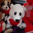 POLAR BEAR PLUSH HEART TUGGER POLAR BEAR A BIG RED HEART AND BIG SAD EYES STUFFED ANIMAL GANZ NWT