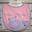 GUND BABY BIB BURPCLOTH SAYS WORLDS CUTEST BABY HUGS AND KISSES NEW WITH TAGS