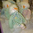 SNOWMEN SET OF 3 GOOFY WHIMSICAL STUFFED PLUSH SNOWMEN SET NEW CBK