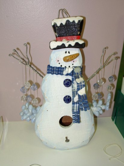 SNOWMAN AND SNOWFLAKE BIRDHOUSE HOME AND GARDEN HOLIDAY SEASONAL DECOR NEW GANZ