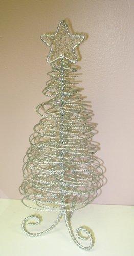 CHRISTMAS TREE SILVER WIRE AND GLITTERS HOLIDAY HOME DECOR NEW GANZ