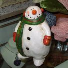 SNOWMAN FIGURINE SMALL RUSTIC HAND PAINTED TERRACOTTA NEW GANZ HOME DECOR CHRISTMAS