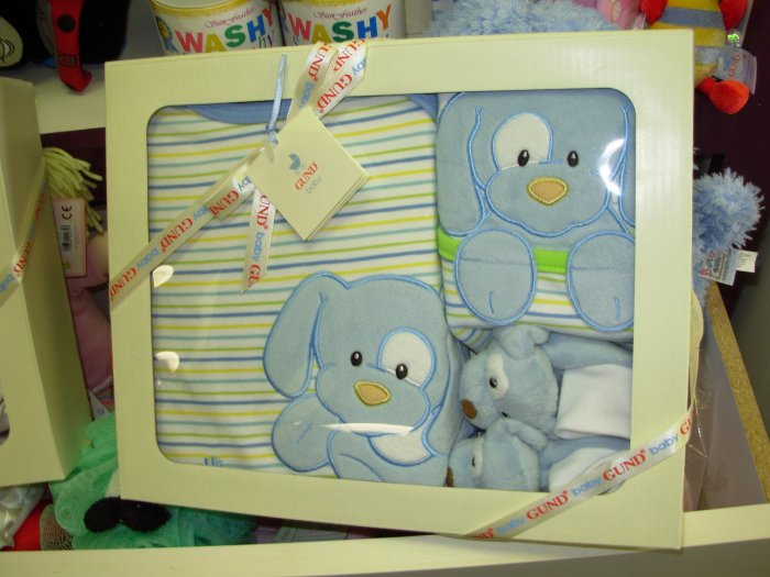 GUND SPUNKY ONSIE BIB SLIPPERS GIFT SET NEW GUND BABY BLUE