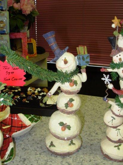 SNOWMAN WOODCUT LOOK RESIN NEW GANZ FIGURINE CHRISTMAS HOLIDAY HOME DECOR