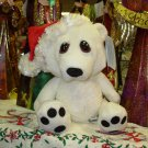 POLAR BEAR CHRISTMAS HEART TUGGER IN SANTA HAT WITH BIG SAD EYES STUFFED PLUSH ANIMAL GANZ NEW