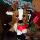 CHRISTMAS HEART TUGGER REINDEER IN RED & WHITE SCARF WITH BIG SAD EYES STUFFED PLUSH ANIMAL GANZ NEW