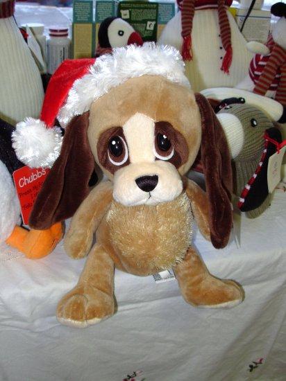 CHRISTMAS HEART TUGGER PUPPY DOG IN SANTA HAT WITH BIG SAD EYES STUFFED PLUSH ANIMAL GANZ NEW