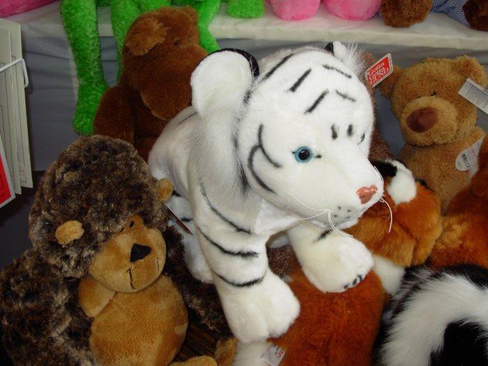 LARGE WHITE TIGER PLUSH STUFFED ANIMAL NEW GANZ JUNGLE CATS