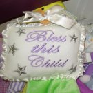 NURSERY DECOR BLESS THIS CHILD DOOR HANGER NEW GANZ BABY BLUE
