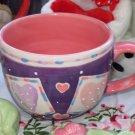 CAPPACINO CUP HEARTS DOTS VALENTINES GIFT CERAMIC MUG NEW GANZ