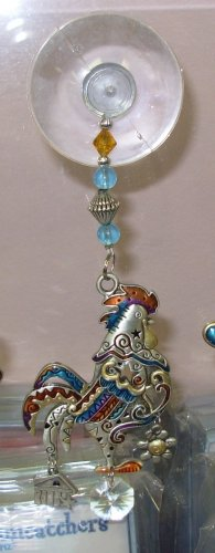 SUNCATCHER CHICKEN PEWTER ENAMELED COLOR ART BY GANZ NEW