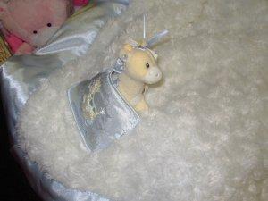 GUND BABY BLANKET TENDER BEGINNINGS BLANKET AND GIRAFFE RATTLE SET BLUE NEW BABY GUND