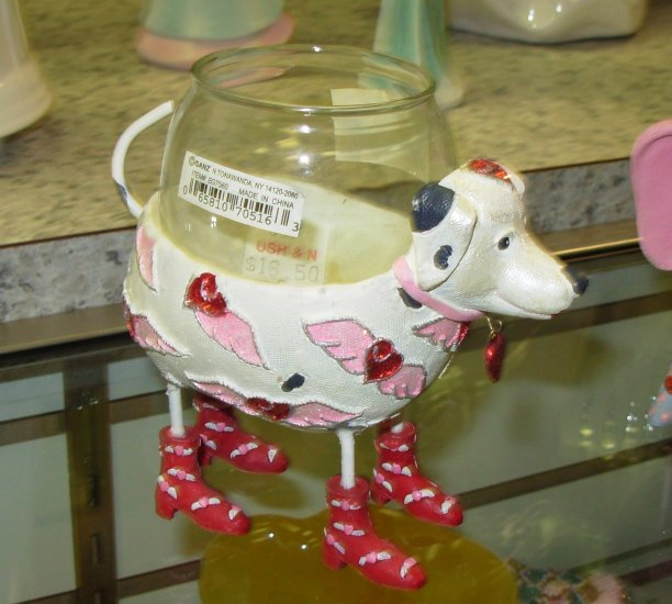 VALENTINES DAY DALMATION VOTIVE CANDLE HOLDER NEW GANZ CUTE FUNNY COVERED IN HEARTS