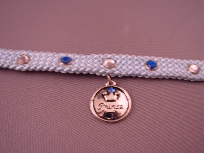 DOG COLLAR BLUE NYLON WEAVE BLUE AND WHITE CRYSTAL STUDS CHARM SAYS PRINCE NEW