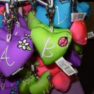 PUFFY HEART ZIP CLIP KEY CLIP WITH THE LETTER B LIME GREEN NEW GANZ