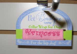 COLLAR WRAP SMALL SAYS PRINCESS BY PET BOUTIQUE FOR DOGS OR CATS NEW GANZ FURBABIES ACCESSORIES