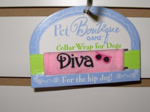 COLLAR WRAP SMALL SAYS DIVA BY PET BOUTIQUE FOR DOGS OR CATS NEW GANZ FURBABIES ACCESSORIES
